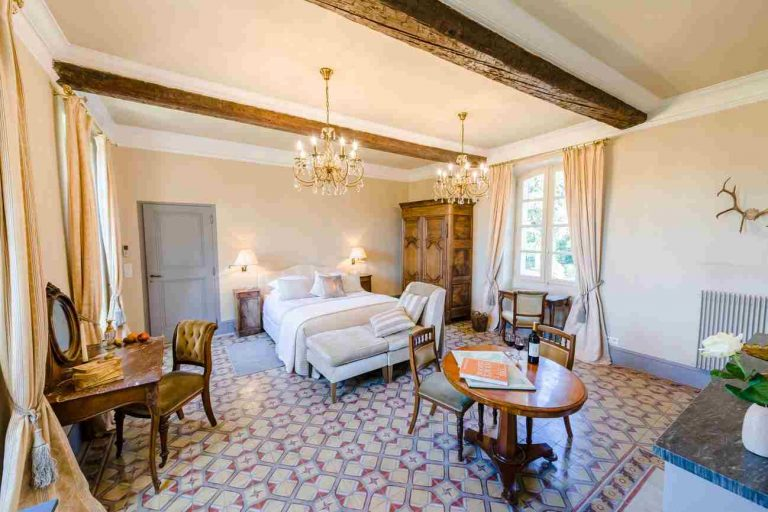 Luxury historic bedroom for rental at Domaine Saint HIlaire