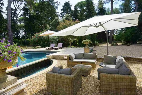 Luxury heated pool and terrace at Domaine Saint Hilaire